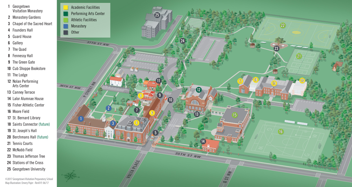 St Johns Campus Map.Campus Map Georgetown Visitation Preparatory School